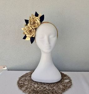 Buy: Gold & Navy Leather Roses Headband Fascinator for Races BNIB