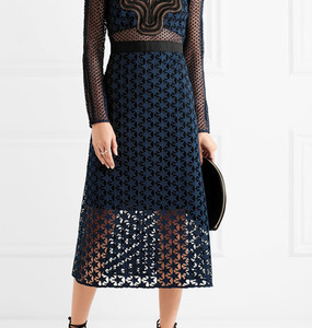 Rent: SELF PORTRAIT 'STAR REPEAT' black/navy dress Sz10