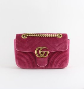 Rent: GG Marmont Velvet Mini Bag in Candy Pink