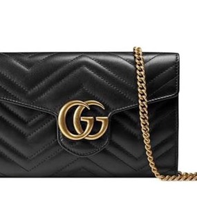 Rent: GUCCI MARMONT MATELASSE MINI WALLET ON CHAIN IN BLACK