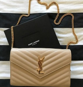 Rent: YSL SAINT LAURENT MONOGRAM WALLET ON CHAIN BAG IN POWDER