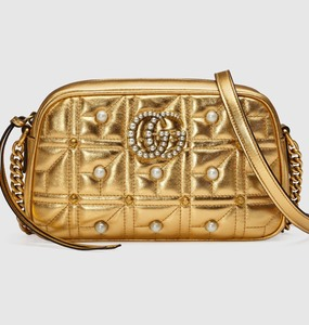 Rent: GUCCI MARMONT MATELASSE SHOULDER BAG - GOLD METALLIC LEATHER