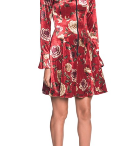 Rent: CUE Floral Velvet Zip Front Dress
