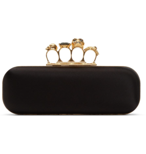 Rent: ALEXANDER MCQUEEN black satin Knuckle Duster Clutch