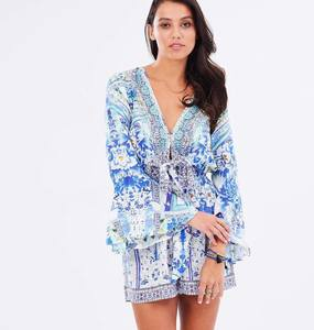 Buy: Camilla - Porcelain Paradise Wide Sleeve Tie Front Playsuit